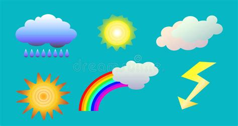 Weather Objects Clip Art. Illustration Of Clouds, Sun