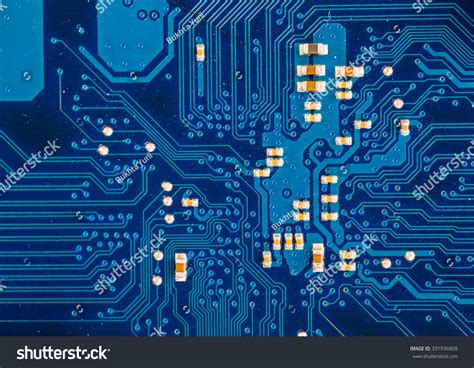 Blue Circuit Board Background Computer Motherboard Stock