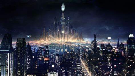 future city skyline night  beautiful wallpaper