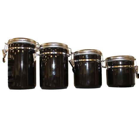 black ceramic canister sets kitchen anchor hocking 4 ceramic canister set in black