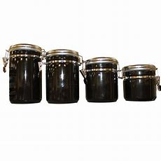 Anchor Hocking 4piece Ceramic Canister Set In Black