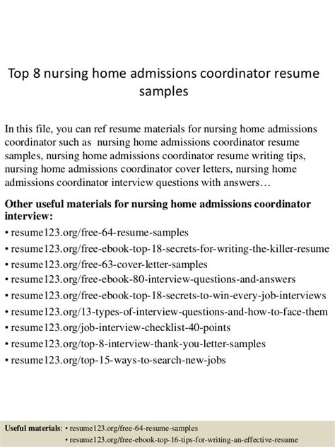 Admissions Coordinator Resume Objective by Resume Sles For Nurses