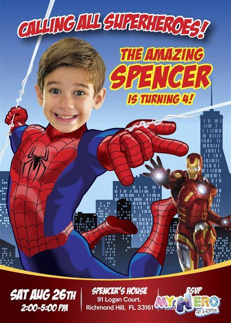 spiderman birthday invitation spiderman avengers