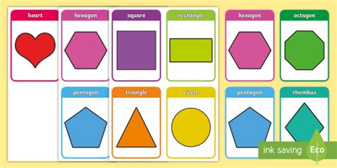 2d Shapes Flashcards For Preschoolers Teacher Made