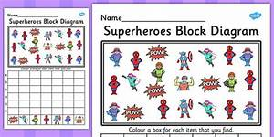 Superheroes Block Diagram Activity Worksheet
