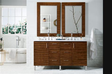 Contemporary Wood Bathroom Vanity Walnut Fitted