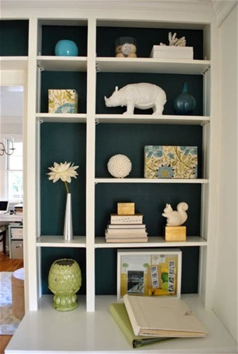 how to paint back of bookcase paint the back of shelves dark color home decor ideas