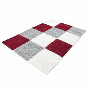 tapis shaggy longues meches rouge gris cream hautes With tapis shaggy gris pas cher