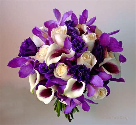 purple  ivory cream white wedding flower bridal party