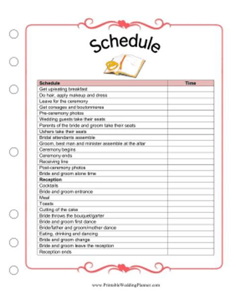 printable wedding planner schedule