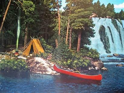 Hamms Beer Camping Waterfall Bear Outdoor Canoe