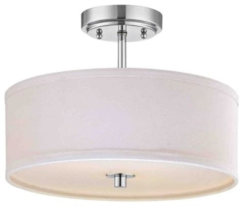 chrome semi flush ceiling light with white drum shade 14