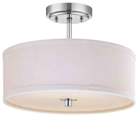 chrome semi flush ceiling light with white drum shade 14