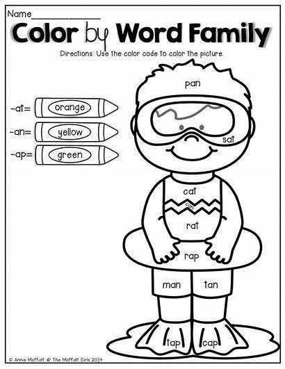 Word Coloring Pages Families Summer Words Kindergarten
