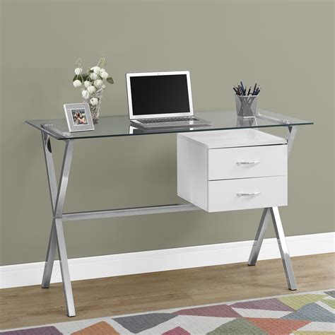 glass desk with storage brienne glass computer desk in glossy white w wooden