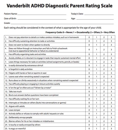 vanderbilt screening forms vanderbilt adhd diagnostic parent rating scale medworks