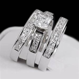 buy ladies womens 3 piece engagement wedding bridal ring With 3 piece womens wedding rings