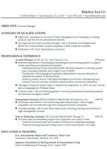 resume objective statement for restaurant management resume exle for a account manager in sales marketing