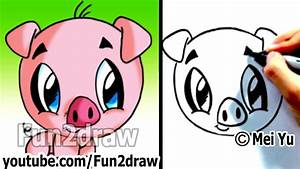 How to Draw a Cartoon Pig under 2 min - Cute animal ...