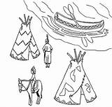 Native Coloring American Canoe Village Teepee Ojibwe Pages Birchbark Symbols Indian Horse sketch template