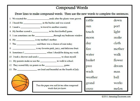 compound words printable worksheet  answer key