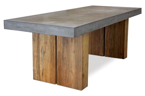 concrete top outdoor dining table cessa light concrete and teak dining table mecox gardens