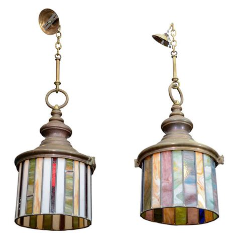 pair of arts and crafts stained glass hanging light