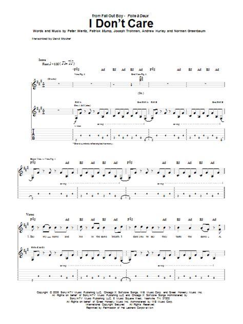 dont care sheet  fall  boy guitar tab