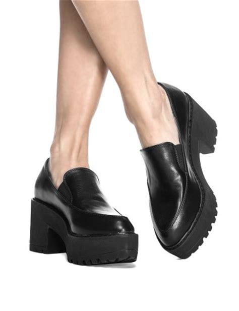striped duvet black platform loafers lug cleated sole slip on shoes 79