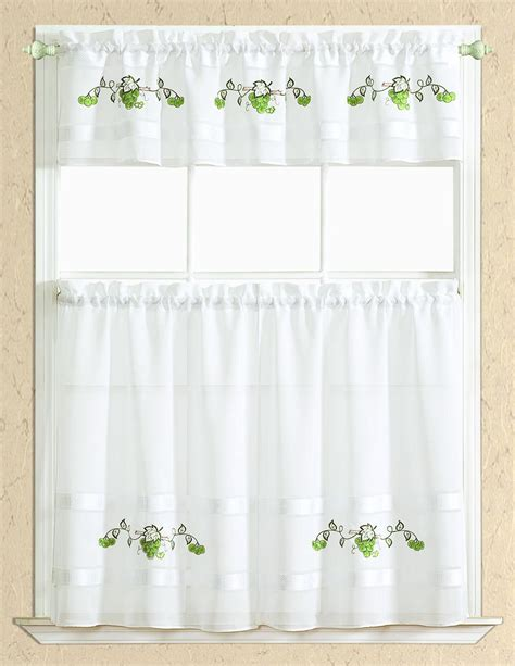 spring grape kitchen curtain set valance     tiers