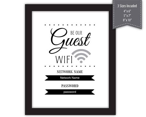 guest wifi password sign  template printable etsy
