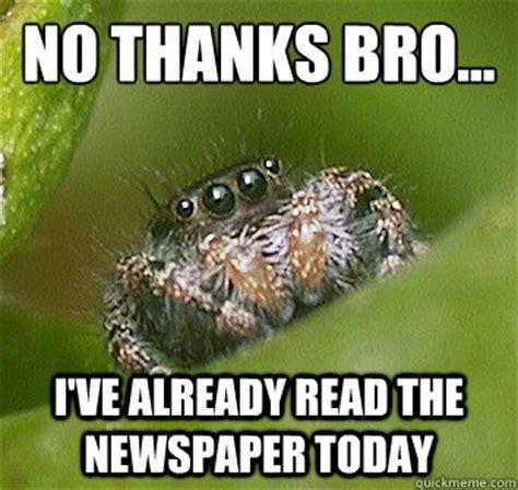 Spider Bro Meme - no thanks bro i ve already read the newspaper today misunderstood spider quickmeme