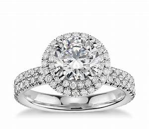 Blue nile studio double halo gala diamond engagement ring for Double band diamond wedding ring