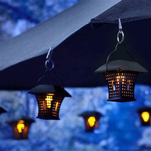 patio umbrella with hanging solar lights rustic patio With outdoor lighting gardenweb