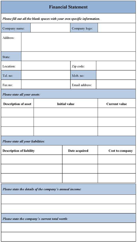 printable blank financial statement form sample printable