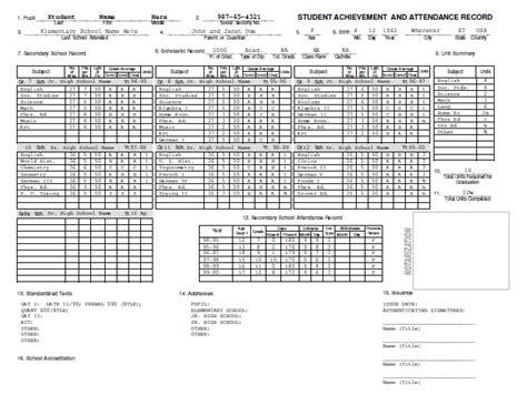 homeschool transcript template 29 images of template for elementary school transcript request lastplant
