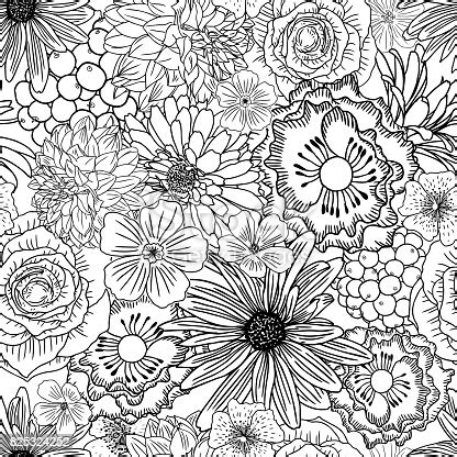 doodle floral drawing seamless pattern wallpaper art therapy coloring page  adults endless