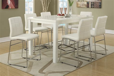 modern counter height table 7pc modern high gloss white counter height dining table set