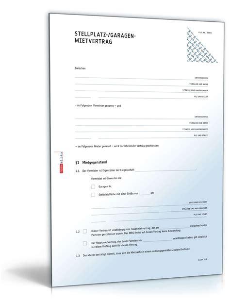 Verkaufsvertrag Garage by Garagenmietvertrag Muster Zum