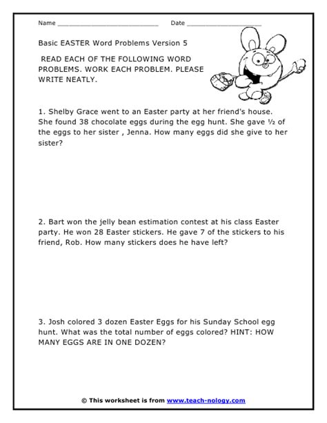 middle school math word problems printable easter