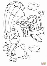 Coloring Skydiving Sky Lion Monkey Plane Disorderly While Brave Tries Intervene Drawing Dot Printable sketch template