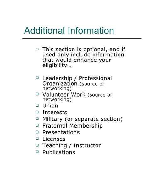 Additional Information Resume by Resume Writing Workshop 2