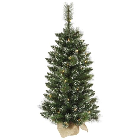 3 foot mixed snow tip pine tree mini lights