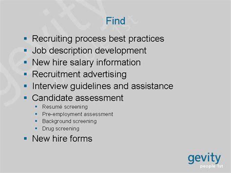 findrecruiting process best practicesjob description