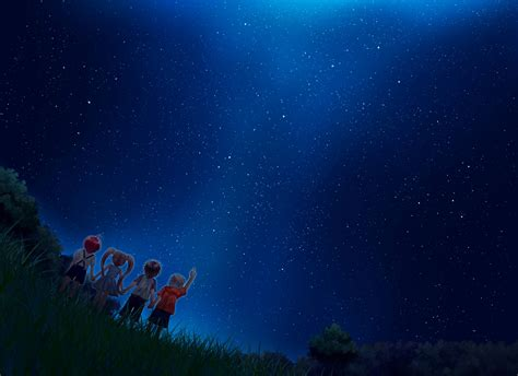 Starry Sky Anime Wallpaper - starry sky hd wallpaper and background image