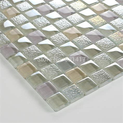 square clear shining stainless glass mosaic kitchen