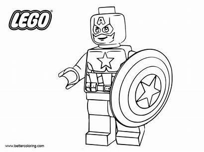 Captain Coloring America Pages Lego Superhero Printable
