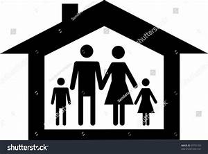 Silhouette Family Icon House Isolated On Stock Vector ...