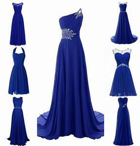 New Royal Blue Plus Size Chiffon Wedding Bridesmaid Dress ...