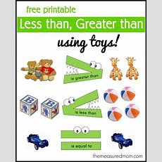 """less Than, Greater Than"" Math Activity  Using Toys  Free Printable Of The Day  Math, Math"